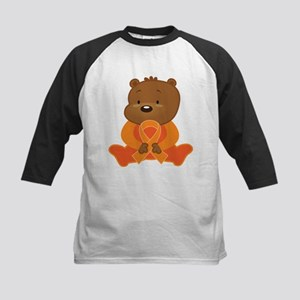 Orange Awareness Bear Kids Baseball Jersey