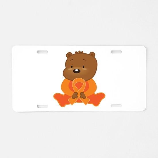 Orange Awareness Bear Aluminum License Plate