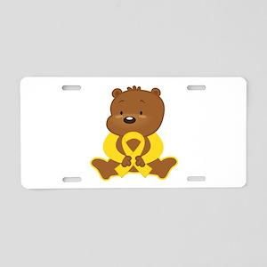 Yellow Awareness Bear Aluminum License Plate