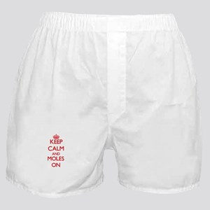Keep calm and Moles On Boxer Shorts