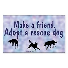 Adopt A Rescue Dog (Blue) Sticker (Rect.)