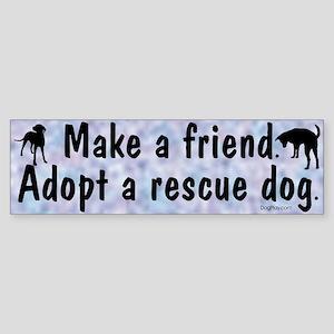 Adopt A Rescue Dog (Blue) Bumper Sticker