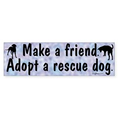 Adopt A Rescue Dog (Blue) Bumper Bumper Sticker
