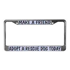 Adopt A Rescue Dog (Blue) License Plate Frame