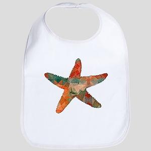 Turquoise and Orange Bright Textured Starfish Bib