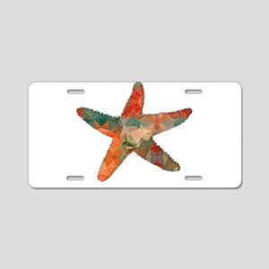 Turquoise and Orange Bright Aluminum License Plate