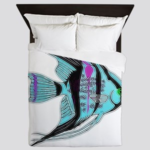 Tribal Blue Angel Fish Queen Duvet