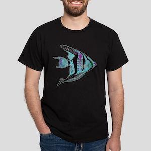 Tribal Blue Angel Fish Dark T-Shirt