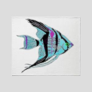 Tribal Blue Angel Fish Throw Blanket