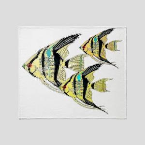 Three Yellow Tribal Angel Fish Throw Blanket
