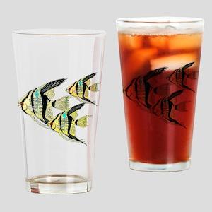 Three Yellow Tribal Angel Fish Drinking Glass