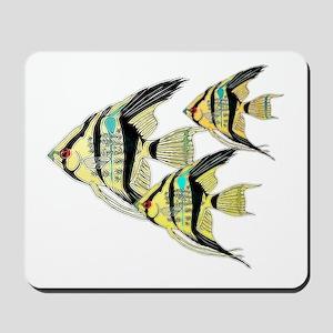 Three Yellow Tribal Angel Fish Mousepad