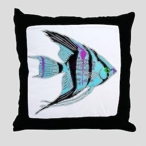 Tribal Blue Angel Fish Throw Pillow