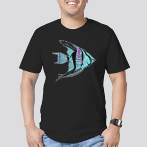 Tribal Blue Angel Fish Men's Fitted T-Shirt (dark)