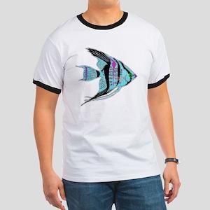 Tribal Blue Angel Fish Ringer T