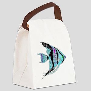 Tribal Blue Angel Fish Canvas Lunch Bag