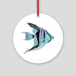 Tribal Blue Angel Fish Round Ornament