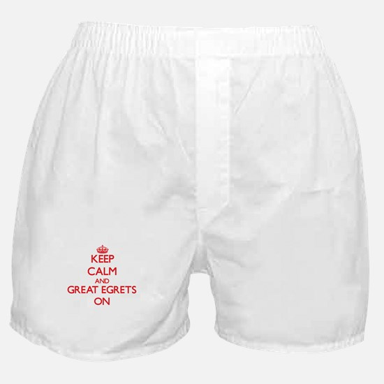 Keep calm and Great Egrets On Boxer Shorts