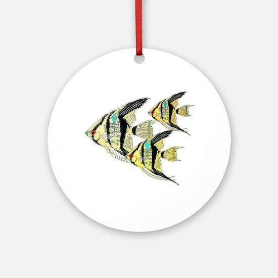 Three Yellow Tribal Angel Fish Ornament (Round)