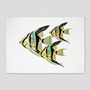Three Yellow Tribal Angel Fish 5'x7'Area Rug