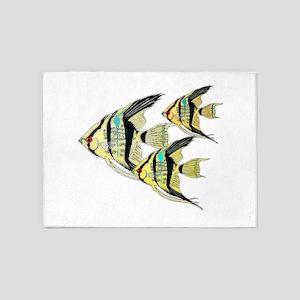 Three Yellow Tribal Angel Fish 5'x7'Area Rug