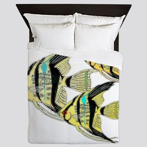 Three Yellow Tribal Angel Fish Queen Duvet