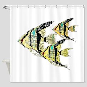 Three Yellow Tribal Angel Fish Shower Curtain