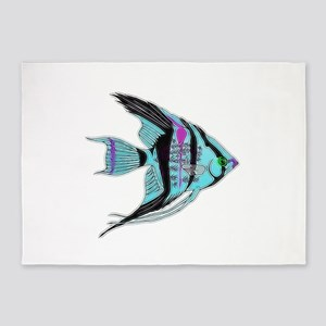 Tribal Blue Angel Fish 5'x7'Area Rug