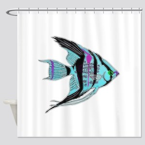 Tribal Blue Angel Fish Shower Curtain