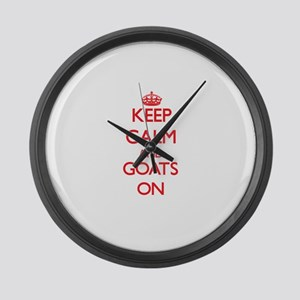 Keep calm and Goats On Large Wall Clock