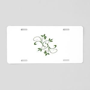 Green Leaves Aluminum License Plate
