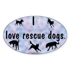I Love Rescue Dogs (blue) Oval Decal
