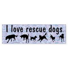 I Love Rescue Dogs (blue) Bumper Bumper Sticker