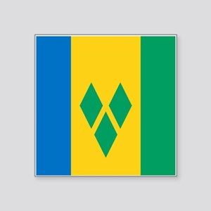 "St Vincent Grenadines Flag Square Sticker 3"" x 3"""