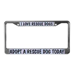 I Love Rescue Dogs (blue) License Plate Frame