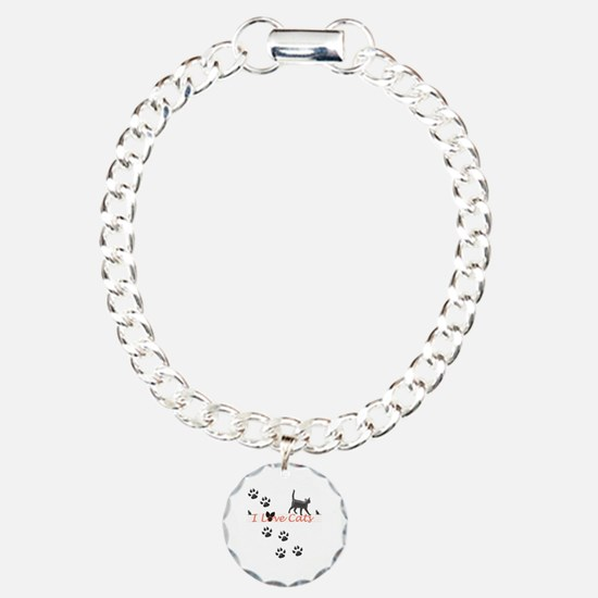I Love Cats Charm Bracelet, One Charm