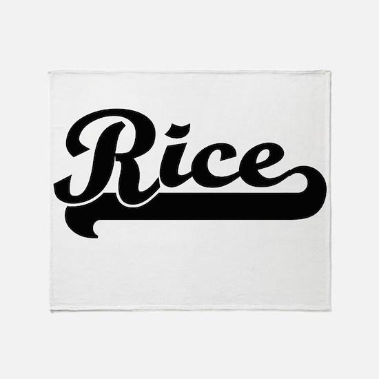 Rice surname classic retro design Throw Blanket