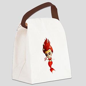 Dia de Los Muertos Mermaid Girl Canvas Lunch Bag