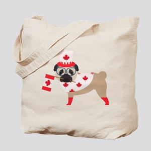 Canada Day Pug with Flag Tote Bag