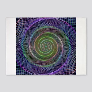 Psychedelic Webbed Spiral 5'x7'Area Rug