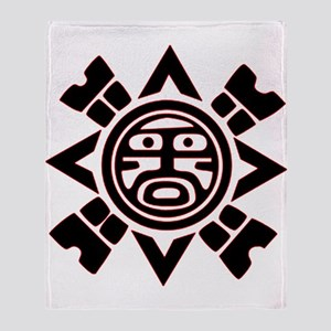 Black Haida Sun God Throw Blanket