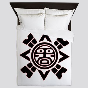 Black Haida Sun God Queen Duvet