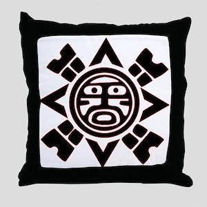 Black Haida Sun God Throw Pillow