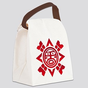 Red Haida Sun God Canvas Lunch Bag
