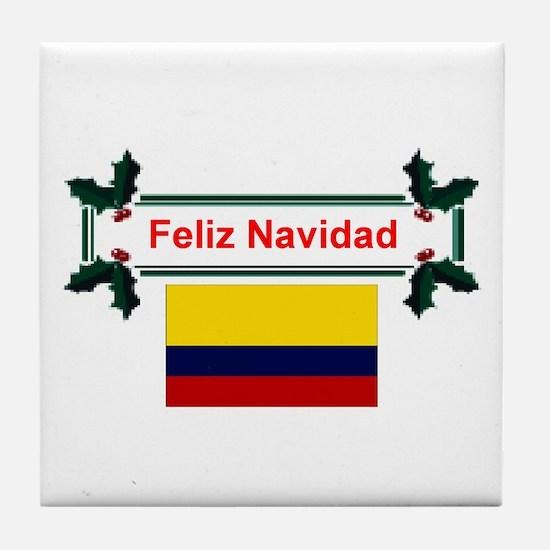 Colombian Feliz Navidad Tile Coaster