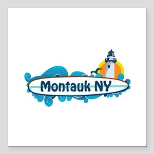 "Montauk - Long Island. Square Car Magnet 3"" x 3"""