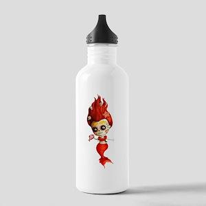 Dia de Los Muertos Mermaid Girl Water Bottle