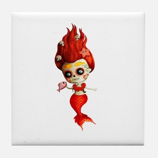 Dia de Los Muertos Mermaid Girl Tile Coaster