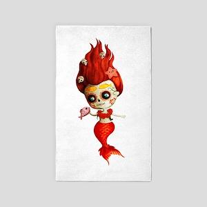 Dia de Los Muertos Mermaid Girl Area Rug
