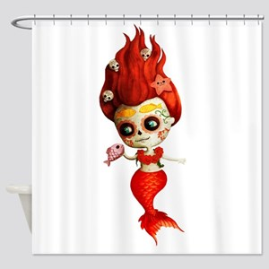 Dia De Los Muertos Mermaid Girl Shower Curtain